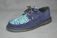 Low creeper sole shoe, interlaced - Navy/Purple box leather