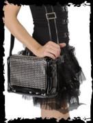 Black shiny bag. Rows of pyramid studs