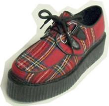 Steelground Creeper d-ring shoe red tartan