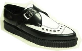 - Steelground  Creeper shoe black/white leather
