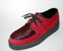Single lace creeper shoe red suede/ red leopard