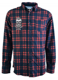 Bearded Skull Red and Navy Checked Shirt
