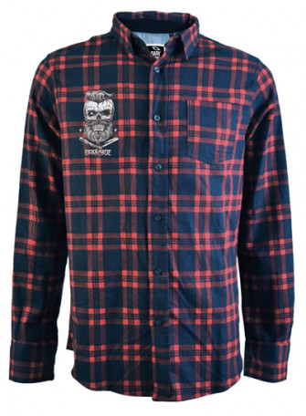 - Bearded Skull Red and Navy Checked Shirt