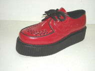 Double d-ring creeper shoe red patent