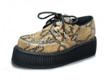 Double creeper shoe, interlaced - taupe python suede