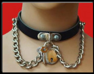 Padlock and Chain Leather Neckband