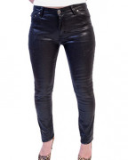 Regular Rise Shiny Coated Jeans
