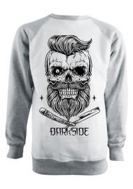 Bearded Skull Grey and White Sweatshirt