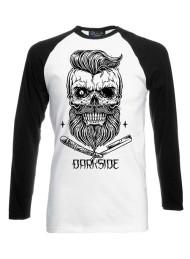 Bearded Skull Black White Long Sleeve Raglan T Shirt