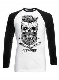 Bearded Skull Black White Long Sleeve Raglan T Shirt