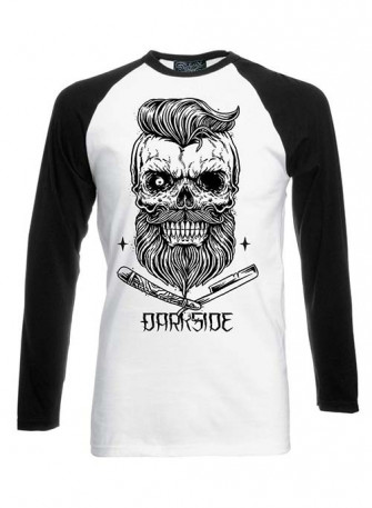 - Bearded Skull Black White Long Sleeve Raglan T Shirt