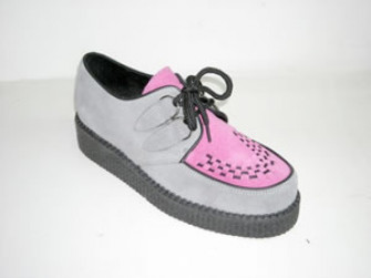 - Steelground  Single lace creeper shoe grey /pink suede apro