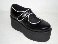Super bottom black patent shoe