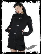 Long sleek black jacket with band collar