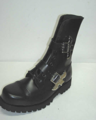 - 10 eye boot with 2 batman buckles black leather