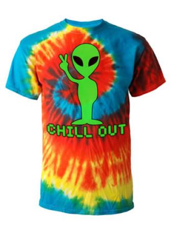 - Alien Chill Out Rainbow Tie Dye T Shirt