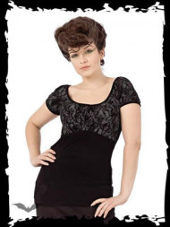 Baroque Lace Top with Cross Pendant