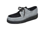 Lace creeper lace shoe single sole grey/black  suede