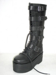 5 buckles platform boot black leather