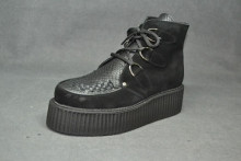 Double Creeper boot, interlaced - Black suede/ Black snake leather