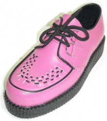Steelground Creeper single pink leather d-ring shoe