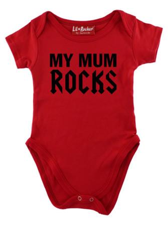 - Red My Mum Rocks Baby Grow