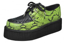 Double creeper shoe. Lime suede python, black grain leather