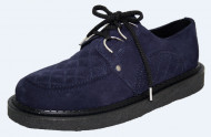 Crepe black sole creeper shoe. Navy suede leather. 2 D's with laces