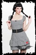 Black & white chequered sun dress