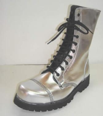 - 10 eye boot metalic silver leather