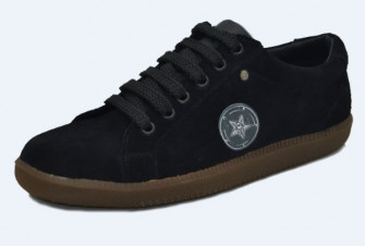 - 60's sneakers. Black suede leather. Laces