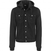 Hooded Black Denim Fleece Jacket