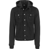 Hooded Black Denim Fleece Jacket