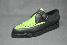 Pointed Creeper monk shoe, interlaced - Black snake/Lime suede