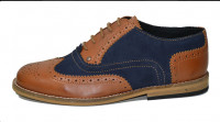 Gatsby brogue shoe Tan grain and navy blue suede leathe