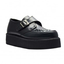 Black Leather Creeper Shoes