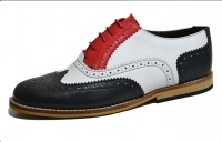 Classic Gatsby brogue shoe Black, white, red grain leather