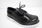3 eye shoe black leather white sole
