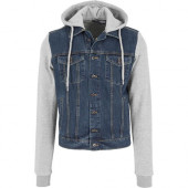 Hooded Denim Fleece Jacket denimblue