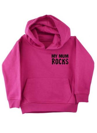 - My Mum Rocks Pink Kids Pullover Hood