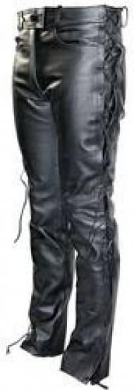 Leather pants with lacing on the side