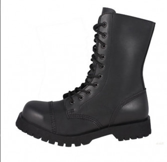 "- 10 eyelets Vegan boot. Black ""faux leather"" Vegan"