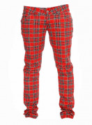 Red Tartan Regular Rise Skinny Zip Jeans