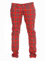 Red Tartan Regular Rise Skinny Zip Jeans
