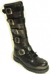 Steelground Steel Hard 5 buckle boot black leather