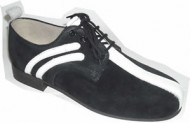 Steelground black suede/white leather