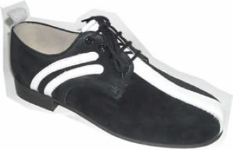 - Steelground black suede/white leather