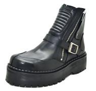 Motard boot - Black grain leather