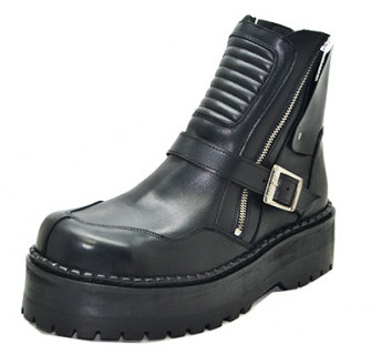 - Motard boot - Black grain leather