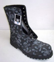 10 eye boot black suede with grey skull